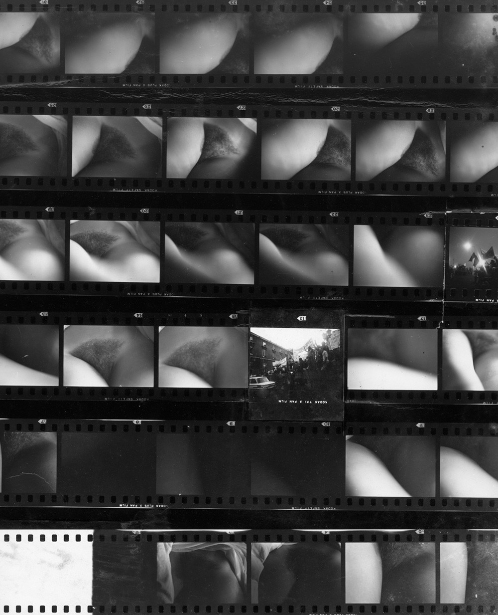 "Ernesto de Sousa, photomontage on contact sheet, from the series ""Your Body"", c. 1974."