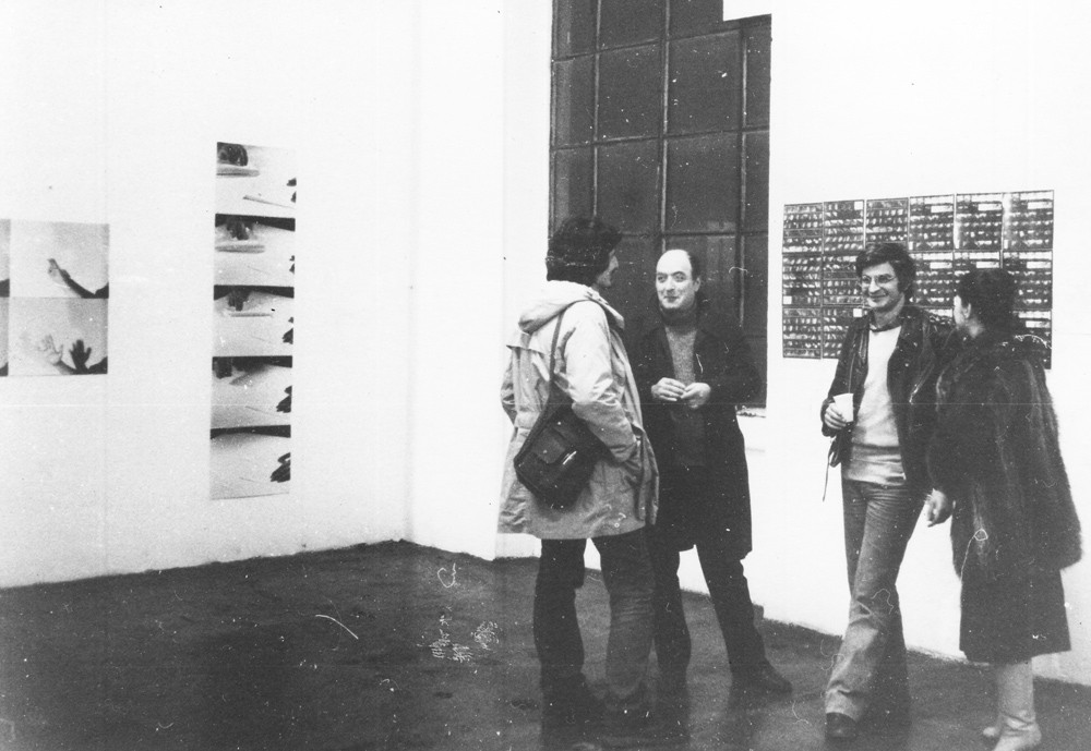 "Opening of the exhibition ""Eleven Portuguese Artists in Milan"", Laboratorio, Milan, 1978. Works by Helena Almeida, on the left, and Ernesto de Sousa, on the right."
