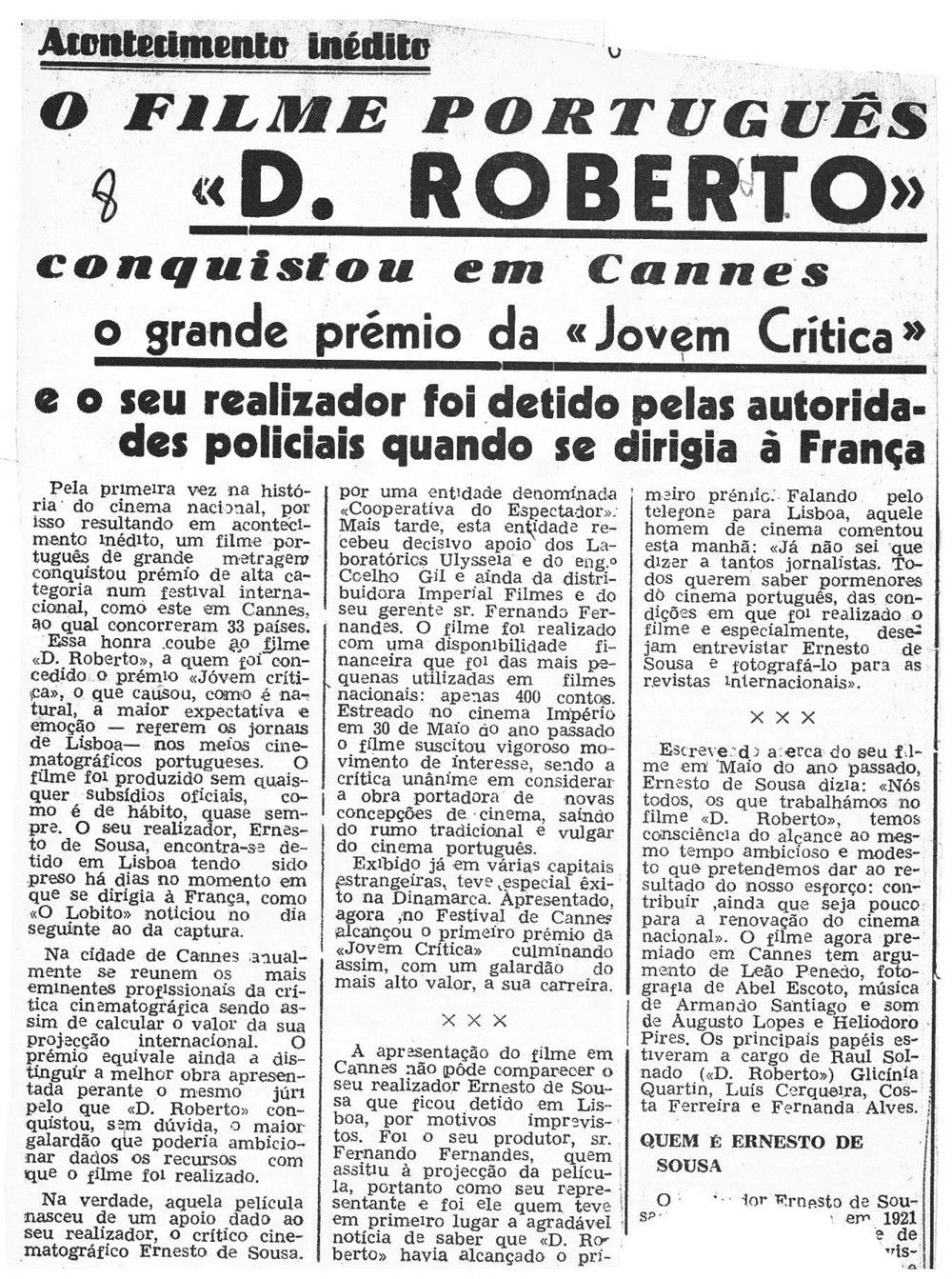 News clip about Dom Roberto's prize in Cannes and Ernesto de Sousa's imprisonment, 1963.