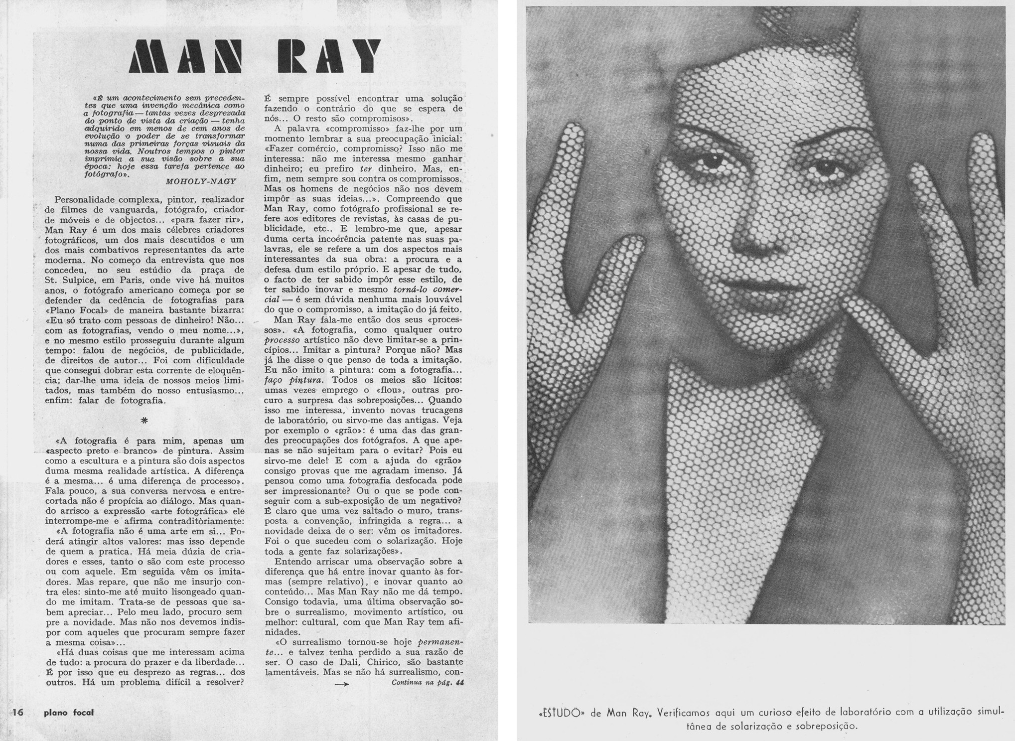 Interview to Man Ray, Plano Focal, nr. 4, May-June 1953.