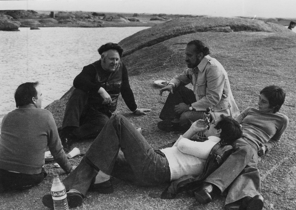 "Inauguration of Vostell's sculpture ""V.O.A.E.X."" and of Vostell Museum in Malpartida, 1976. Narbon, Wolf Vostell, Ernesto de Sousa, Carlos and Filomena Gentil-Homem."