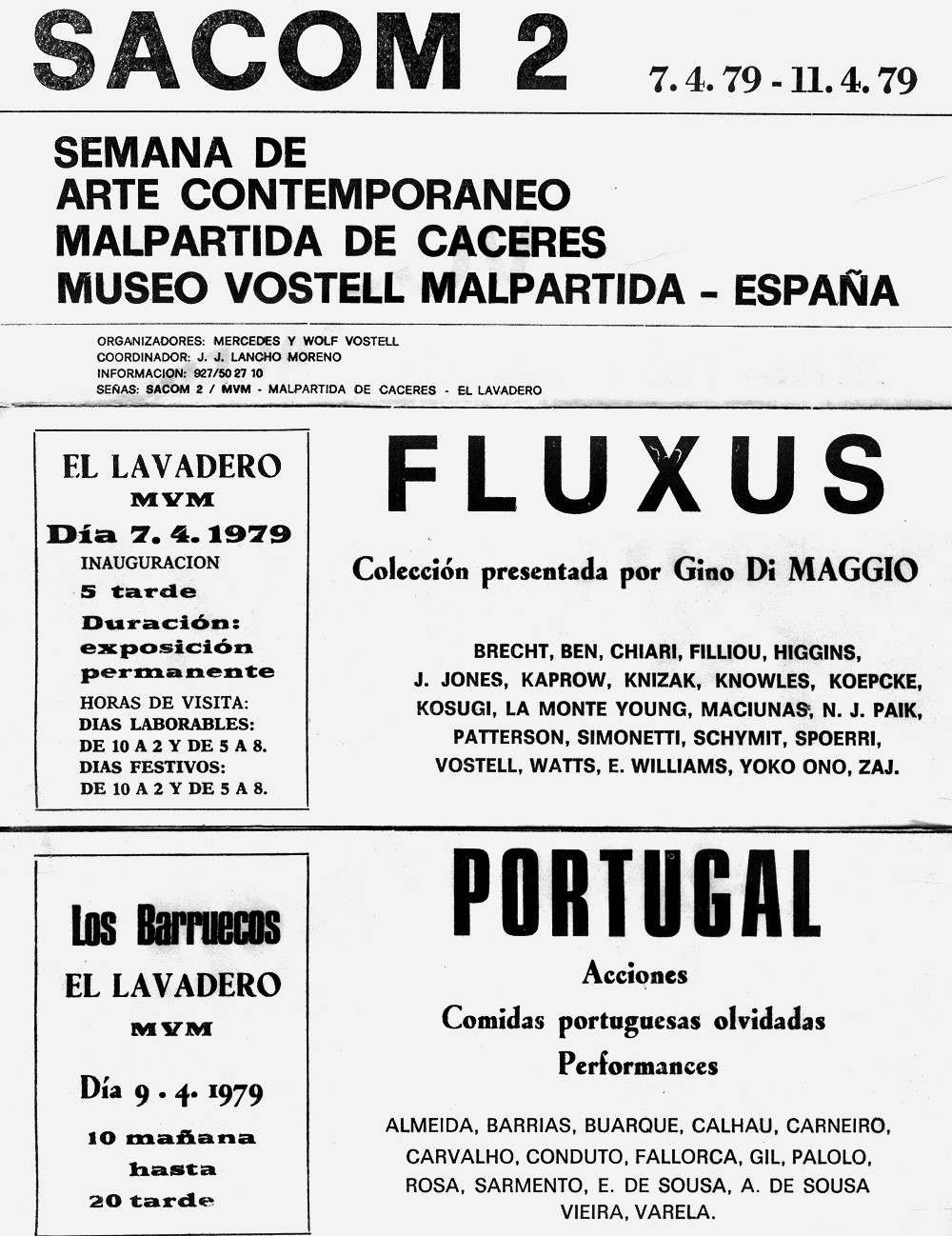 Program for SACOM 2, announcing actions and performances by the Portuguese artists, 1979.