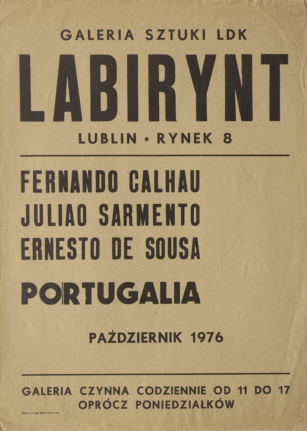 Poster of the exhibition at Galeria Labirynt, in Lublin, Poland, 1976.